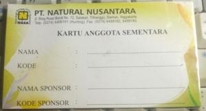 Kartu Anggota Sementara Crystal X. Sebenarnya merupakan Kartu Distributor Natural Nusantara sementara